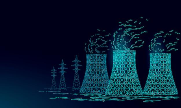 Torre de enfriamiento de la central nuclear de baja poli. render ecología contaminación salvar planeta medio ambiente concepto triángulo poligonal. reactor nuclear radiactivo electricidad