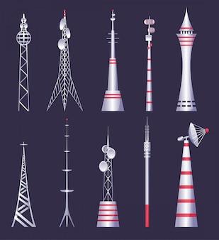 Torre inalámbrica tv radio red comunicación satélite antena señal fotos. torre de comunicación. radiodifusión celular tv radio inalámbrica antena satélite construcción