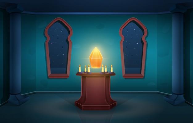 Torre mágica de dibujos animados del castillo del hechicero con cristal en la noche, ilustración