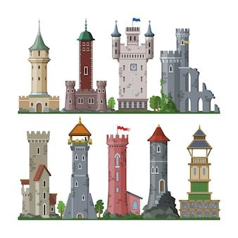 Torre medieval castillo de dibujos animados de cuento de hadas del edificio del palacio de fantasía en el reino de las hadas ilustración