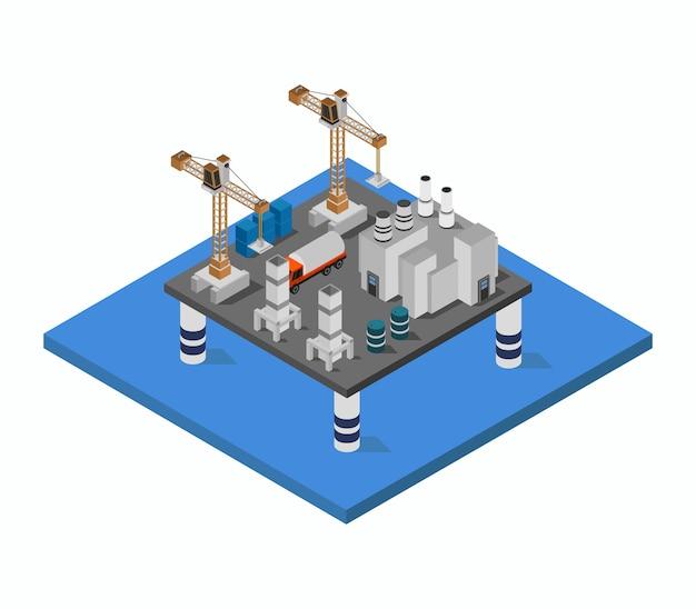 Torre del petrolero en el mar isométrico