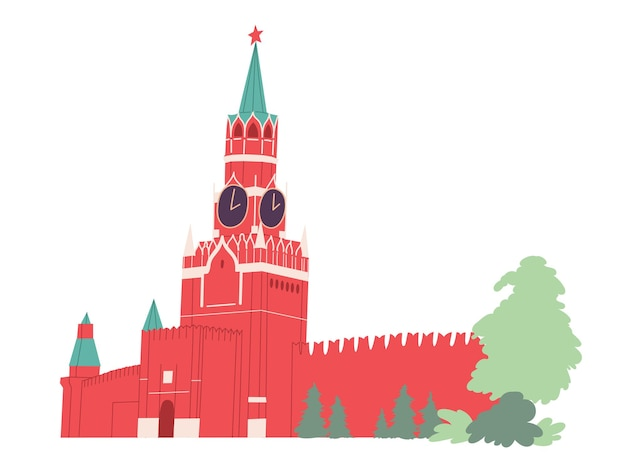 Torre spasskaya kremlin de moscú. plaza roja de rusia.