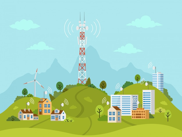 Torre de transmisión en paisaje con ondas de señal