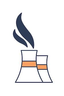 Torres de enfriamiento que emiten vapor o vapor aislado sobre fondo blanco. fábrica, manufactura, planta de refinería, central eléctrica y contaminación atmosférica. ilustración de vector colorido en estilo de arte de línea moderna.