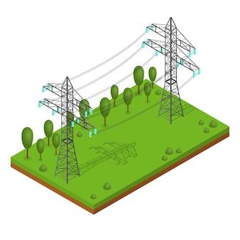 Torres de líneas eléctricas. soporte de paisaje de alto voltaje. vista isométrica.