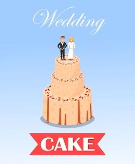 Torta dulce de la boda adornada con la estatuilla de los pares.