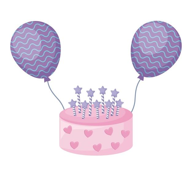 Torta dulce con velas y globos de helio.
