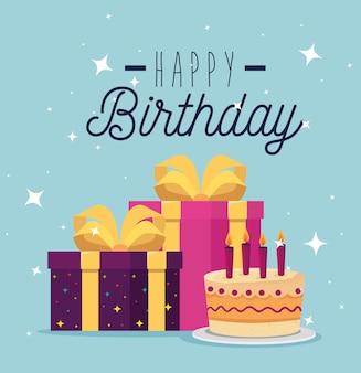 Torta dulce con velas y regalos presentes, tarjeta de felicitación