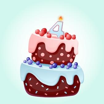 Torta festiva del cumpleaños lindo de la historieta 4 años con la vela número cuatro. galleta de chocolate con moras, cerezas y arándanos.