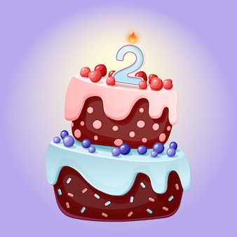 Torta festiva linda del feliz cumpleaños de 2 años de la historieta con la vela número dos. galleta de chocolate con moras, cerezas y arándanos.