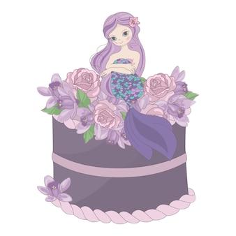 Torta de sirena floral dulce princesa