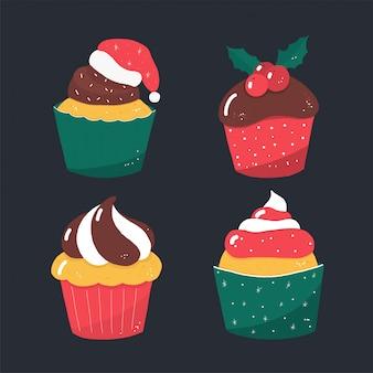 Tortas de dulces de navidad de vector rústico