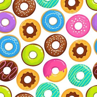 Tortas glaseadas deliciosas donuts de chocolate vector de patrones sin fisuras