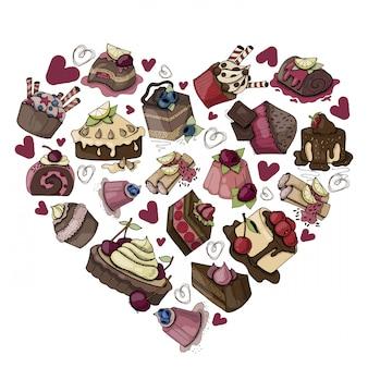 Tortas, muffins, dulces sobre un fondo blanco.