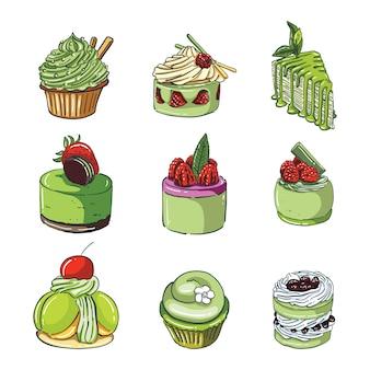 Tortas de té verde dibujadas a mano