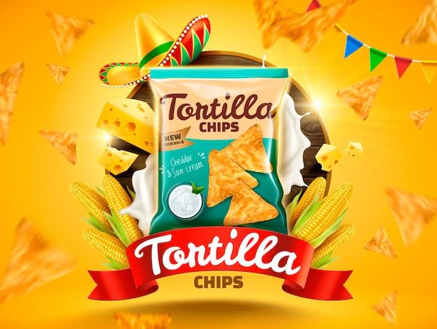 Tortilla chips con galletas voladoras y callos