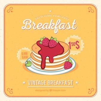 Tortitas con fresas dibujadas a mano