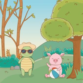 Tortuga y cerdo en bosque