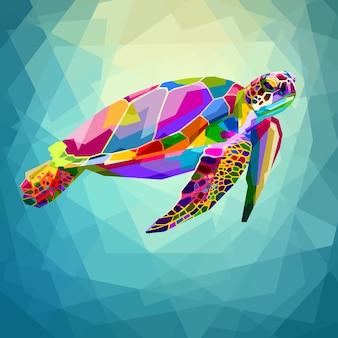 Tortuga colorida flotando bajo el agua en el océano geométrico de agua azul