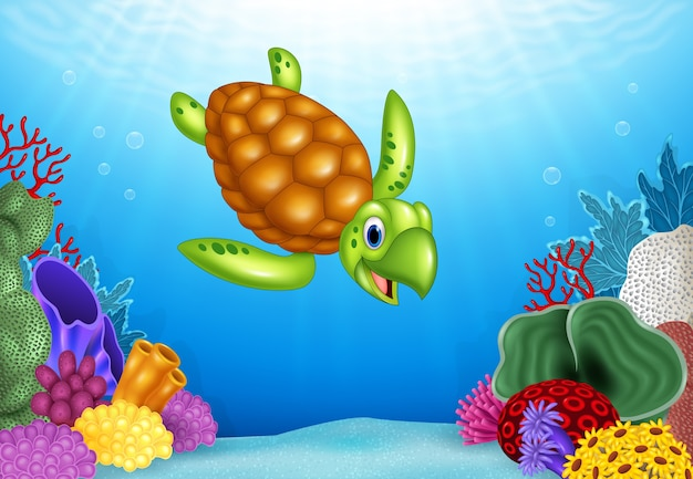 Tortuga divertida de dibujos animados con hermoso mundo submarino