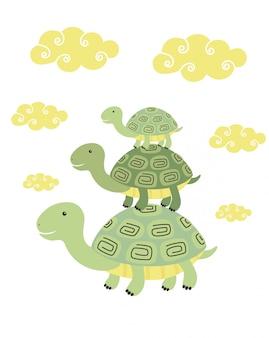 Tortuga divertida de dibujos animados de impresión
