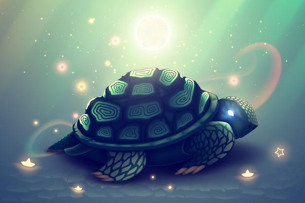 Tortuga de fantasía verde con concha de mosaico, ilustración de animal salvaje