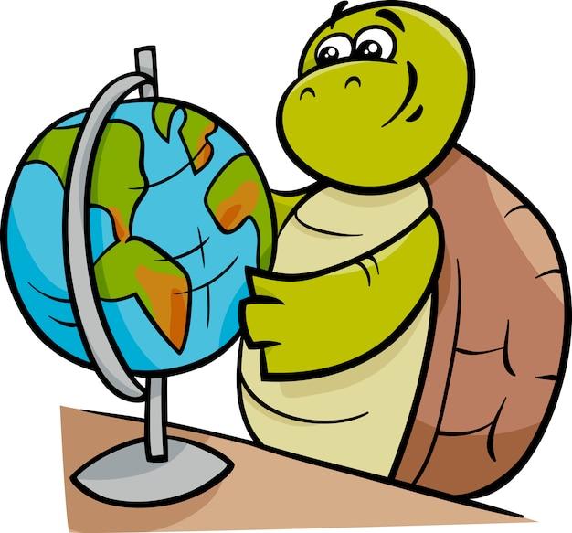 Tortuga con la ilustración de dibujos animados globo