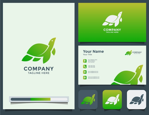 Tortuga logo y tarjeta de visita