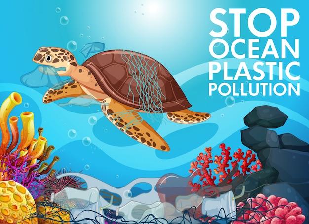 Tortuga marina y basura en el océano