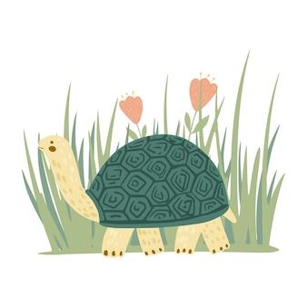 Tortuga con pasto y flores aisladas sobre fondo blanco. tortuga de personaje de dibujos animados lindo. ilustración de doodle.