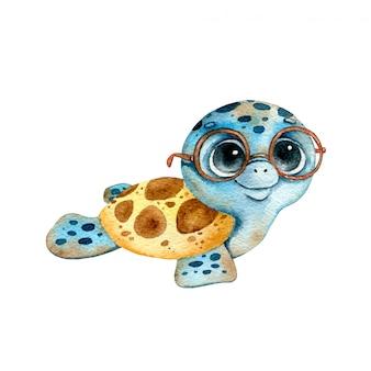 Tortuga pequeña acuarela de dibujos animados lindo en gafas