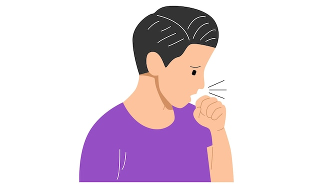 Tos hombre enfermo con gripe fría y virus