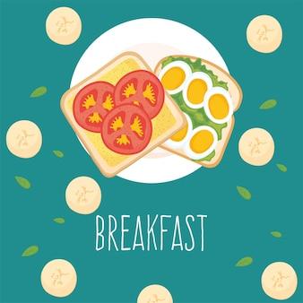 Tostadas de desayuno con tomates y huevos