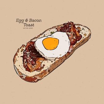 Tostadas de huevo y tocino, boceto a mano