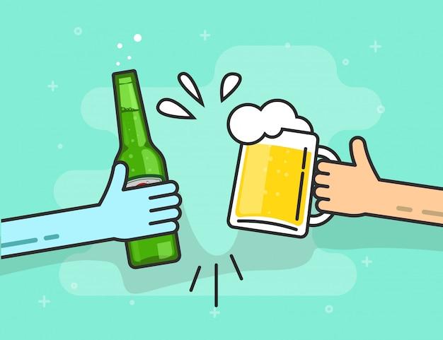 Tostado de cerveza o manos sosteniendo copas vector línea esquema arte
