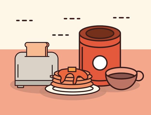 Tostadora de pan, panqueques y chocolate en estilo lineal