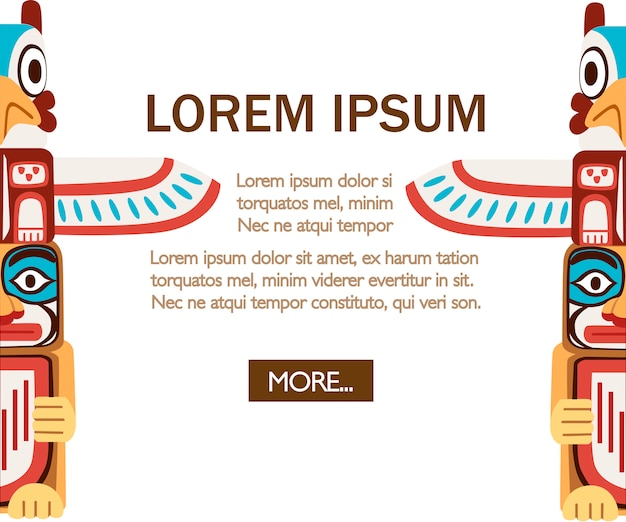Tótem indio coloreado. objeto de madera símbolo animal planta representación familia clan tribu. ilustración sobre fondo blanco. página del sitio web de la aplicación móvil