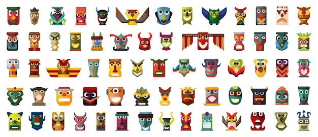 Tótem nativo conjunto de iconos de dibujos animados.