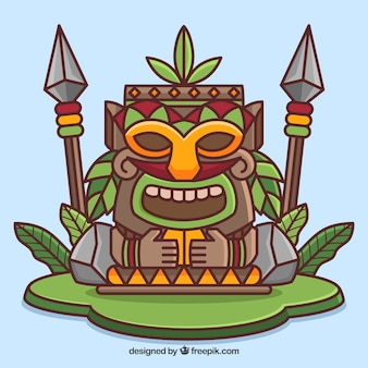 Totem tiki sonriente con plantas y lanzas