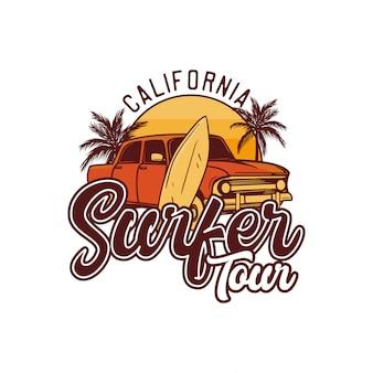 Tour de surfista en california. cartel de ilustración de camiseta de surf retro de diseño