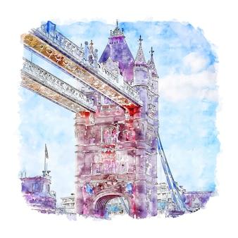 Tower bridge londres reino unido acuarela dibujo dibujado a mano ilustración
