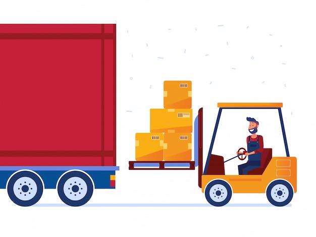 Trabajador de almacén está cargando camión con carretilla elevadora moderna