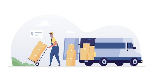 Trabajador del almacén descargando mercancías de la camioneta. servicio de entrega y logística de transporte.