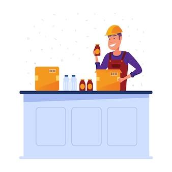 Trabajador de almacén empacando mercancías en cajas