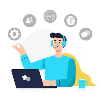 Trabajador de atención al cliente en diseño plano