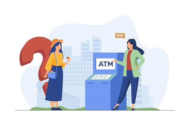 Trabajador bancario ayudando a los clientes a utilizar cajeros automáticos. chica con tarjeta de crédito con pregunta ilustración vectorial plana. finanzas, servicio, consulta