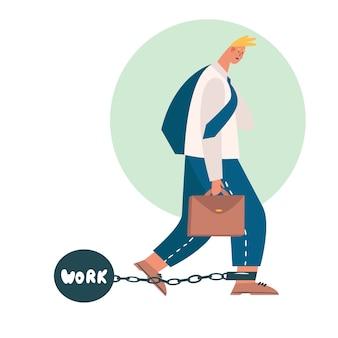 El trabajador cansado se va de la oficina y trae el trabajo a casa. empleado cansado y agotado lidiando con un jefe demasiado exigente. expectativas poco realistas, fecha límite, trastorno por estrés en el concepto de trabajo.