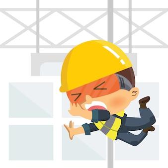 Trabajador cayendo desde lo alto. accidente laboral o concepto de seguridad en la construcción.