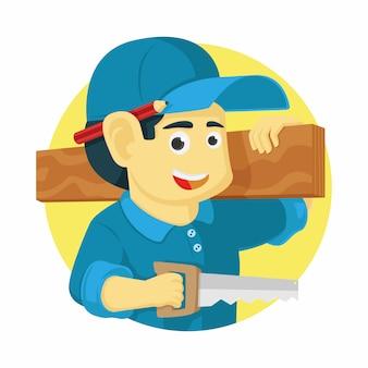 Trabajador clásico o carpintero vector. trabajador de la construcción de ingeniería civil. ilustración vectorial de diseño plano