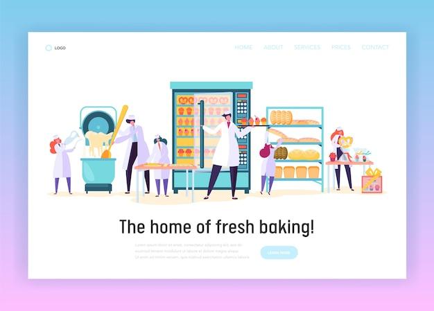 Trabajador de cocina hacer página de inicio de productos de panadería.